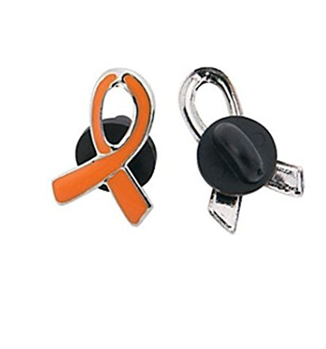 25 Orange Ribbon Awareness PINS SUPPORT KIDNEY, LEUKEMIA, MULTIPLE (Leukemia Orange Ribbon)