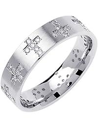 045ct tdw white diamonds 14k white gold religious eternity mens wedding band g h si1 si2 6mm - Mens Diamond Wedding Rings White Gold