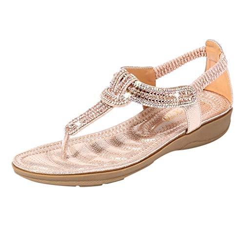(kaifongfu Shoes Women's Crystal with Rhinestone Bohemia Flip Flops Summer Beach T-Strap Flat Sandals(Pink,37))