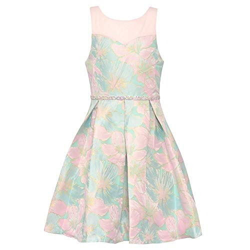 Rare Editions Big Girls Mint Pink Flower Print Knee-Length Easter Dress ()