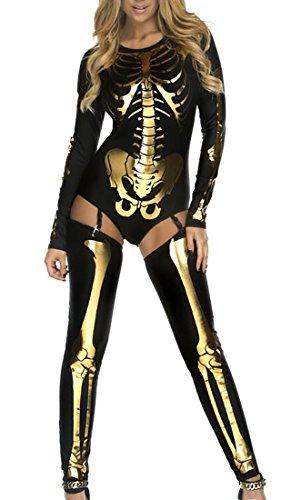 ouxiuli Women's Autumn Halloween Cotton Skeleton Long-sleeve Jumpsuit