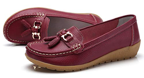 Driving Leather Moccasin Driving Loafers Wine Casual Women's Labato Cowhide Shoes Red Flat Rw4Sc0q
