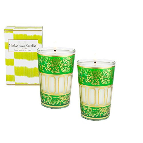 Candle Ounce 10.5 - Market Street Candles Green Moroccan Soy Wax Candle, 10.5 oz, Fresh Cut Grass (2)