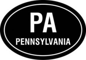 States In Ovals, Pa, Pennsylvania, Vinyl Car Decal, 'White', '15-by-15 (W15 Pa)
