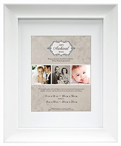 MCS 11x14 Inch Archival Frame with 8x10 Inch Mat Opening, Wh