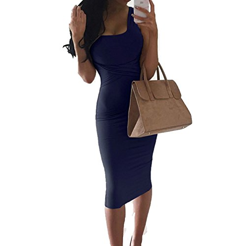 Lovely-Shop Summer Women Bodycon Dress 2018 Sexy Sleeveless Club Party Dresses Thick Black Office Work Dresses,Navy Blue,M