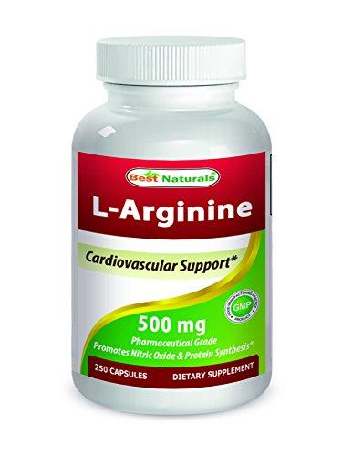 Best Naturals L Arginine 500mg 250 Capsules Pharmaceutical Grade L Arginine supplement promotes nitric oxide synthesis