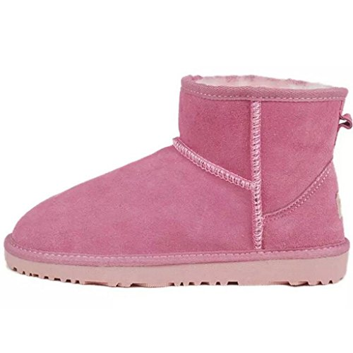 Short YFINE Shoes Warm Leather Snow Womens Genuine Boots Pink Thicker Girls Women's Brown Winter q6w6tCr