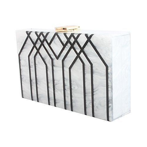 for LETODE Acrylic Evening Evening Bag Box Party Shoulder Clutch Handbag Stripes Bag White Champagne P8nBwnx
