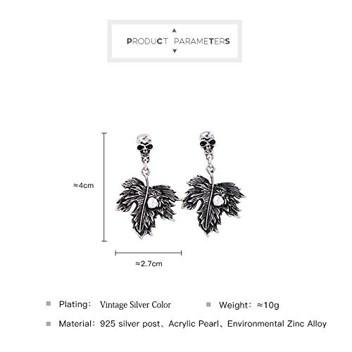 Miss Kiss 925 Silver Post Acrylic Pearl Halloween Silver Skeleton Dangle Drop Earrings Jewelry for Womens Girls ED01561c