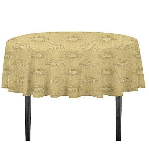 kangkaishi Beige Washable Tablecloth Set of Pumpkins on
