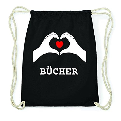 JOllify BÜCHER Hipster Turnbeutel Tasche Rucksack aus Baumwolle - Farbe: schwarz Design: Hände Herz
