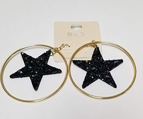 Blue and Gold Glittered Star Accented Metal Hoop Dangle Earrings, 2.5