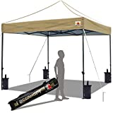 ABCCANOPY Pop up Canopy Tent Commercial Instant Shelter with Wheeled Carry Bag, Bonus 4 Canopy Sand Bags, 10x10 ft Edge Beige