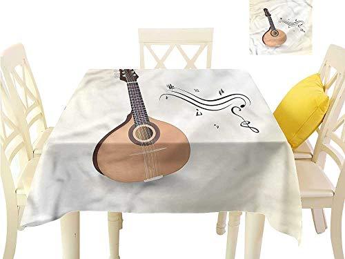 WilliamsDecor Wrinkle Free Tablecloths Mandolin,Russian Mandolin Musical Summer Table Cloths W 54