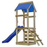 Festnight Wooden Playhouse Set Ladder Slide 260 x 90 x 245 cm Outdoor kids