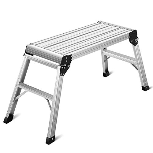 Giantex Work Platform Aluminum Step Ladder Drywall Safe CE Approved of Capacity 330 LBS Heavy Duty Portable Bench Folding Ladders Stool w/Non-Slip Mat - Platform Working
