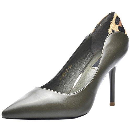 HooH Femmes Escarpins Mat Pointed Toe Talons hauts Léopard Stiletto Escarpins Vert E83L2lXK