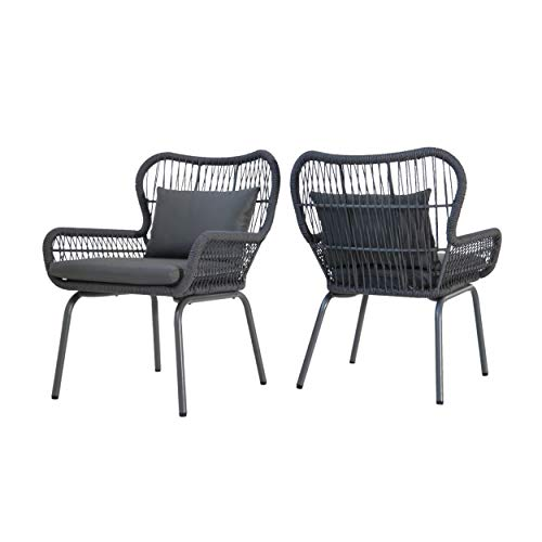 Christopher Knight Home Karen Outdoor Club Chairs, Steel and Rope, Water-Resistant Cushions, Boho, Dark Gray (Set of 2)