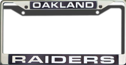 Oakland Raiders NFL Rico Laser Cut Chrome License Plate Frame! Officially Licensed Top of the Line Metal Plate Frame ! Showcase your Team Spirit when you're on the Road and set yourself apart in Traffic! Easy to Mount and Highly Durable! A Great Team Co by Rico
