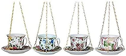 UPSIDE DOWN TEACUP AND SAUCER WILD BIRD FOOD FEEDER TEA CUP FLORAL