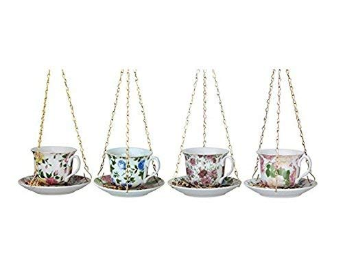 Fallen Fruits Best for Birds Vintage English Tea Cup with Saucer Bird Feeder ()