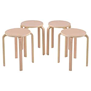 Costway Set Of 4 17 Inch Bentwood Stools Stacking Home Room Furniture Decor Kitchen