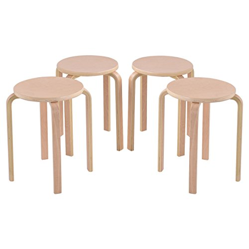 New Set of 4 17-inch Bentwood Stools Stacking Home Room Furniture Decor 4 Bentwood Stools