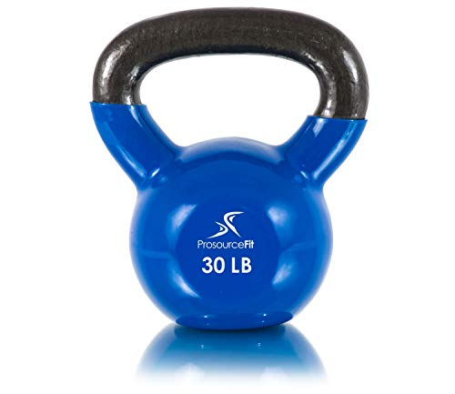 Prosource Fit Vinyl Coated Cast Iron Kettlebells for Full Body Fitness Workouts 30 lb