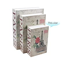 Wawoo Pairs The Eiffel Tower Creative Book Safe with Lock, Metal Case Pairs Secret Book Safe Box Money Jewellery Concealed Security Safe Box Safe Can Saving Pot Bank with Lock