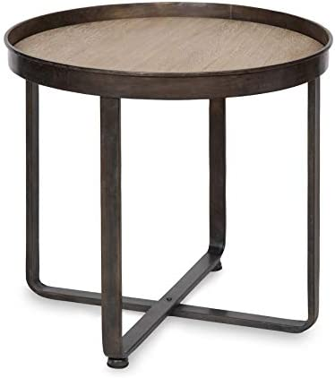 Kate and Laurel Zabel Modern Farmhouse Round End Table with Wrought Iron Metal Criss Cross Base and White Oak Finished Wooden Insert Top