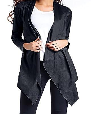 ZANZEA Women's Waterfall Cardigan Draped Open Front Long Sleeve Asymmetrical Hem Pocket Blazer Cardigan Cape Coats