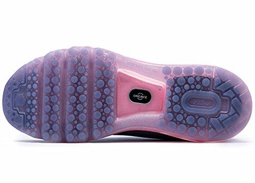 ONEMIX Damen Air Laufschuhe, schräge Zunge Design Grau / Pink