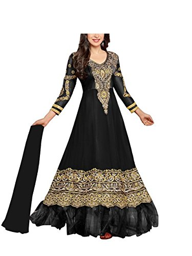 Vibes Women's Gorgette Salwar Suit Dress Material – Free Size, Black