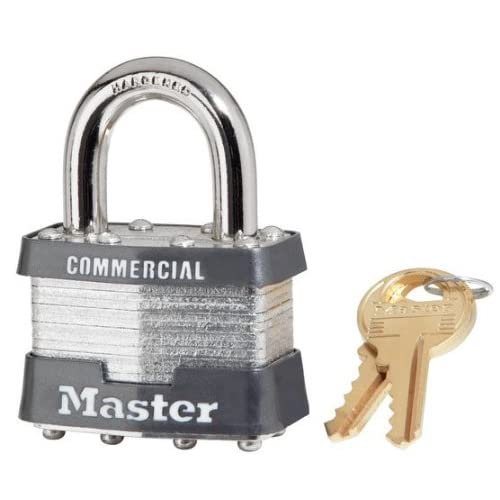 "24 Pack Master Lock 1KA-2359 1-3/4"" Wide Keyed Alike Commercial Grade Laminated Padlock with 15/16"" Shackle Height - Keyed to 2359 Key Code"