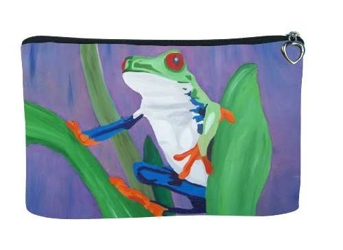 Frog Cosmetic Bag, Zip-top Closer - Taken From My Original Paintings (Frog - Kaleidoscope)