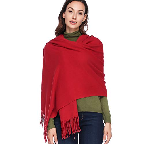 HOYAYO Cashmere Wool Shawl Wraps - Extra Large Thick Soft Pashmina Scarf(Wine Red)