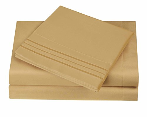 1800 Series Egyptian Collection 3 Line Microfiber 4 Piece Bed Sheet Set (Queen, Camel) (3 4 Bed Sheet Sets)