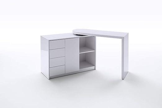 PEGANE - Mesa de Escritorio giratoria de Color Lacado Blanco ...