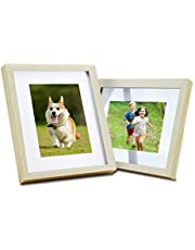 Jaoul 8x10 2 Pack of Photo Picture Frame Solid Wood Glass Front for Tabletop Display and Wall Mounting, Natural
