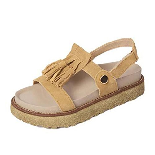 ANDAY Girls New Summer Suede Tassel Flatform Roman Flats Sandals Beach Travel Shoes With Velcro Strap apricot 5TREY