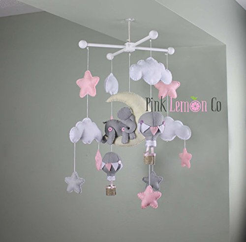 Handmade Elephant baby mobile by Pinklemonco