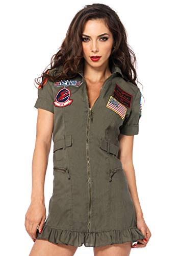 Leg Avenue Women's Top Gun Flight Dress,Zipper Front Dress ()