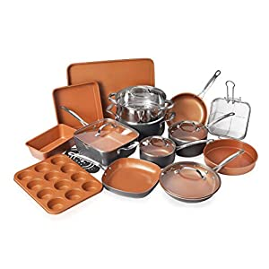 Gotham Steel Cookware + Bakeware Set with Nonstick Durable Ceramic Copper Coating – Includes Skillets, Stock Pots, Deep… 10