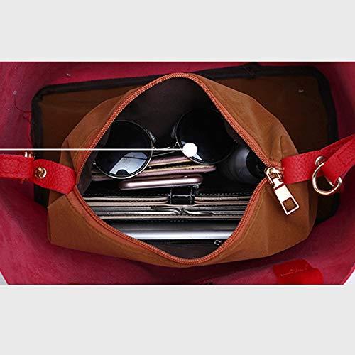 Les femmes portées à l'épaule peuvent également porter des bandoulières, un sac seau, un cuir PU, des éléments de couture simples, élégants et simples et élégants, adaptés aux réunions, fêtes, shopping, travail, rouge rouge
