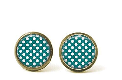- Dandelion Teal & White Spot Earrings , Geometric , Simple Earrings , Rock N Roll Style , Stud Earrings