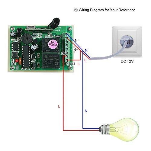 OWSOO Módulo de Receptor Control Remoto Inalámbrico Universal 433Mhz DC 12V 2CH 10A Relé y 2PCS 3 ClavesRF 433 Mhz Transmisor Mando a Distancia 1527 Chip
