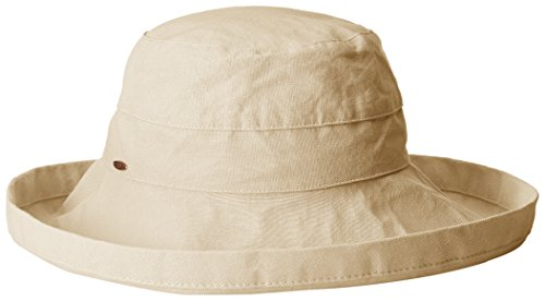Scala Women's Cotton Hat with Inner Drawstring and Upf 50+ Rating,Sand,One Size