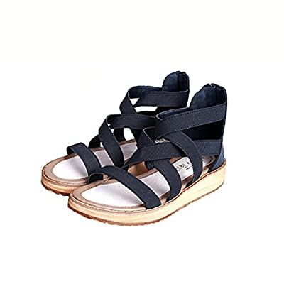 Reiny Women's Comfort Leather Flat Zip Summer Sandles Sandals