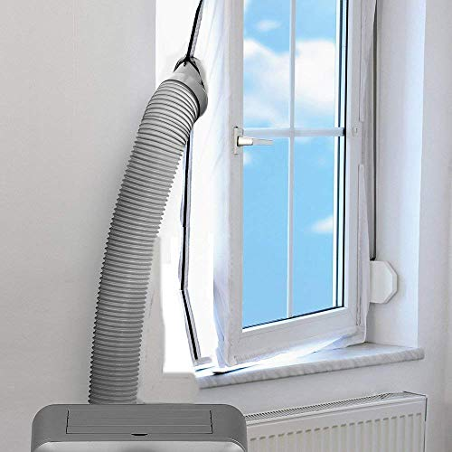 FWX Airlock Window Seal for Mobile Air-conditioning Units,Flexible Cloth Sealing Plate,Tumble Dryer Window Vent Kit ,Stop Hot Air with Zip and Adhesive Fastener - no Need for Drilling Holes
